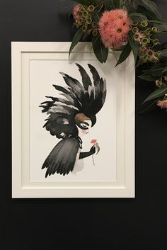 The enchanting Black Cockatoo print from Violet Eyes. This kids wall art print has been made for nurseries and bedrooms. Part of the Violet Eyes �Wilde Things� collection, it is inspired by the majestic black cockatoo native to Australia. Made in Melbourne this print is perfect for girls nursery and bedroom decor. It comes in multiple sizes and makes a stylish and unique wall art print for children. Shop now https://www.violeteyes.com.au/products/black-cockatoo