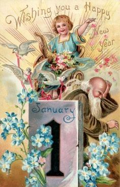 old new year post card new years angel with father time 447x700 happy