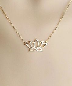 gold  lotus necklace gold plated over sterling silver by alya, $26.00