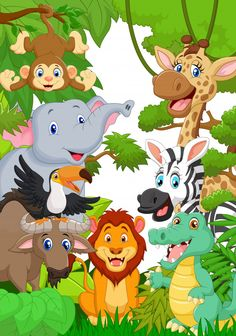 Find cartoon jungle animal character stock images in HD and millions of other royalty-free stock photos, illustrations and vectors in the Shutterstock collection. Safari Party, Safari Theme, Jungle Safari, Jungle Theme, Cartoon Jungle Animals, Cute Baby Animals, Safari Animals, Kairo, Safari Nursery