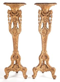 A Pair Of Louis XV-Style Gilt Wood Stands. France, circa 1880.