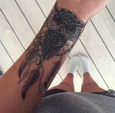 Owl inspired dream catcher Tattoo on Arm