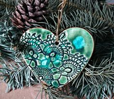 Ceramic Heart Christmas Ornament Peacock Green lace edged in gold