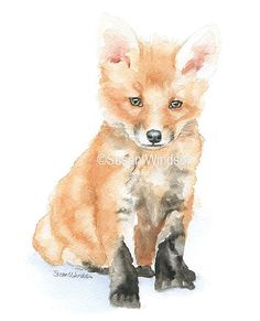 Baby Fox Watercolor Painting 5 x 7 Fine Art Giclee