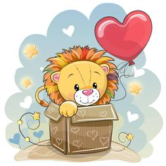 Birthday card with a cute lion vector image on VectorStock Clipart Baby, Kids Cartoon Characters, Cartoon Kids, Cute Cartoon Animals, Cute Animals, Baby Birthday Card, Lion Vector, Cute Lion, Printable Designs
