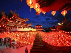 Lanterns are hung in a Chinese temple ahead of welcoming in the Year of the Horse during Chinese New Year celebrations in Kuala Lumpur.