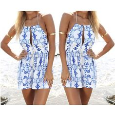 Find More Jumpsuits & Rompers Information about 2015 Summer Women Jumpsuit Blue White Porcelain Printed Mini Dr ess for Beach Wearing Around Neck Strap,High Quality porcelain letters,China printing discount Suppliers, Cheap porcelain print from Shabaz - All for Women on Aliexpress.com
