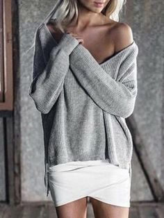 Solid Color Asymmetric V-neck Loose Sweater Tops – oshoplive