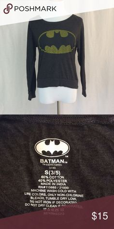 Holy Midriff, Batman! Cute, midriff Batman shirt. Lightweight, t-shirt material. Dark gray color. Tops