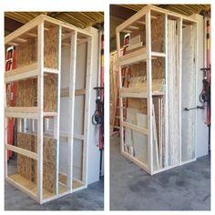 Made a plywood/sheet good storage rack for my shop. Garage Workshop Plans, Garage Workshop Organization, Diy Garage Storage, Workshop Storage, Basement Workshop, Kayak Storage, Workshop Ideas, Lumber Storage Rack, Plywood Storage