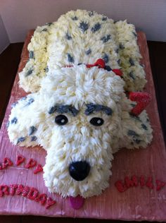 Marble Cake With Buttercream Frosting Birthday Puppy For A 7 Year Old Girl
