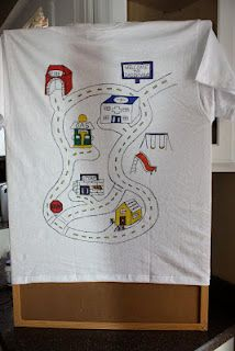 great t-shirt to make for the back and let kids drive cars on the road and you get a car massage!
