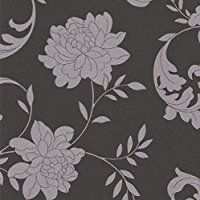 Silk Black / Silver Wallpaper