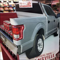 This Dr. Pepper Fansville Pickup Truck Display brings out the Redneck in the best of us. Hopefully also team spirit and a driving thirst for Dr. Dr Pepper, Pick Up, Pickup Trucks, Super Bowl, Stuffed Peppers, Football, Display, Futbol, Floor Space