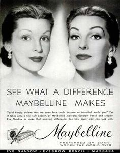 1952 Maybelline 'before and after' #advertisement. The eye make-up is more severe, sophisticated and glamourous than that of the the 1930s but the message has not altered much in fifteen years.