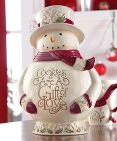 Grasslands Road Snowman Cookie Jar | With this delightful snowman cookie jar, you can keep your sweet treats safe and fresh throughout the holiday season.