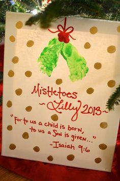 Easy DIY Mistletoes Baby Feet Christmas Craft