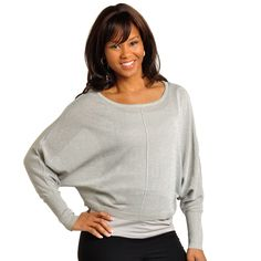 Show off your flirty fun side with this metallic grey sweater that shines with each move you make.