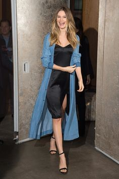 A pregnant Behati Prinsloo took to the launch of her Juicy Couture collection in New York wearing a black slip dress and a long denim jacket Trenchcoat Style, Long Denim Jacket, Denim Jacket Fashion, Behati Prinsloo, Juicy Couture, Jumpsuit Denim, Denim Duster, Duster Jacket, Denim Shirts