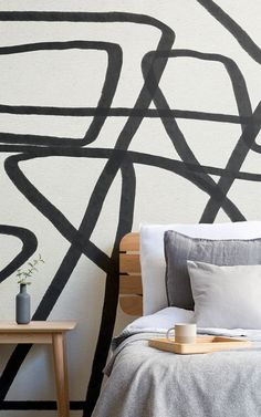 Create a bold feature wall that will add a unique aspect to your interior theme with the Bold Black and Beige Doodle Abstract Wallpaper Mural. How To Hang Wallpaper, Normal Wallpaper, Drawing Wallpaper, Cool Wallpaper, Blue Geometric Wallpaper, Abstract Styles, Abstract Lines, Easy Install, Interiors