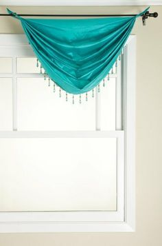 Stylemaster Tribeca Faux Silk Grommet Waterfall Valance With Beaded Trim Turquoise 36 By 37
