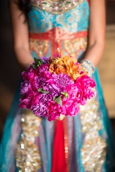 Indian Bridal Bouquet in purple, orange gold, and pink fusia