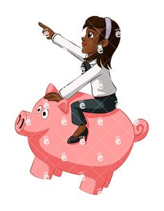 A Black Businesswoman Riding A Piggy Bank And Charging Forward:  #99percent #abundance #abundant #accomplished #achieved #adorable #advance #advancement #advancing #affiliate #affluent #african #african-american #american #attractive #bank #black #blessed #blessings #booming #bullishmarket #business #businesswoman #cartoon #celebrate #celebrating #celebration #CEO #character #charge #charging...