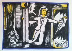 Trabalho de Imagem 02 Pictórica - Mensagem do filme Dançando na Chuva. Desenho com Nankin e giz pastel sobe papel.
