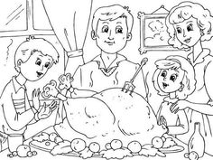 Family Thanksgiving coloring page - Coloring Pages 4 U Free Thanksgiving Coloring Pages, Family Thanksgiving, Niece And Nephew, Coloring Sheets, Some Fun, Thank You Cards, Snoopy, Thankful, Fancy