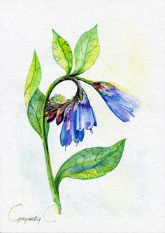 Flowers, blue, Watercolor Original Painting from the Artist #Realism