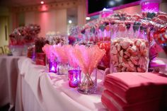 Pink Rock Candy Candy Buffet Table NYC {Party by Balloon Artistry} - mazelmoments.com