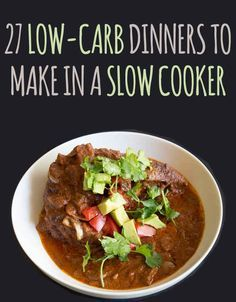 27 Delicious Low-Carb Dinners To Make In A Slow Cooker. Modify for paleo. Slow Cooking, Cooking Recipes, Low Carb Slow Cooker, Crock Pot Slow Cooker, Crockpot Meals, No Carb Slow Cooker Recipes, Crock Pots, Freezer Meals, Low Carb Recipes