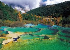 """The rock pools at Huanglong Natural Preserve, Jiuzhaigou National Park in China's Sichuan province. Pinner writes: """"Jiuzhaigou, which means Nine Village Valley, is famed for its series of glacial lakes and the stunning view of the intense turquoise waters - so clear that the surrounding trees and sky were reflected in a sharp mirror image. We continued to be amazed as we alighted from the bus for a closer look at the lakes, spectacular waterfalls and lush foliage."""""""