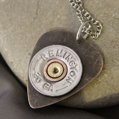 Jewelry Making Shells brass guitar pick with bullet shell necklace - Bullet Shell Jewelry, Shotgun Shell Jewelry, Bullet Casing Jewelry, Ammo Jewelry, Guitar Pick Jewelry, Jewelry Crafts, Jewelery, Handmade Jewelry, Unique Jewelry