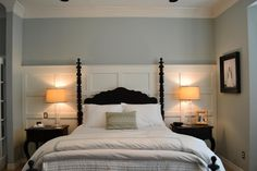beautiful Quietude/Rainwashed color by Sherwin Williams and the wood accents on the wall!