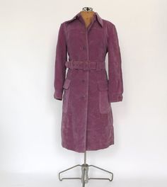 Iconic Vintage 1970s 60s Purple Suede Leather TRENCH COAT Belted JACKET Outerwear Winter Jacket Hippie Boho 70s Disco Glam Jacket Indie