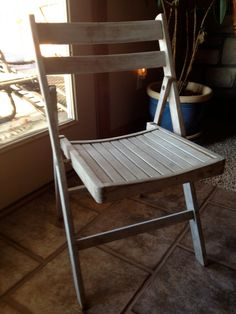 Vintage Wooden Folding Chair Nautical Farmhouse Patio White Washed Awesome  Piece