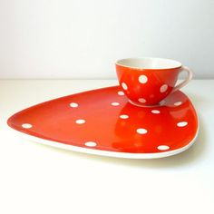 Mid Century Modern Tea Cup & Plate - Tennis Set - Waechtersbach W. Germany - Mad Men style, 1950's home decor, Eames Panton Era