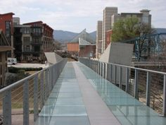 Glass Walking bridge in downtown Chattanooga, TN. Especially beautiful at night when its lite up.