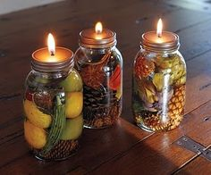 Oil candles from canning jars...great idea for a fall table decoration