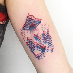 Winston the Whale - 3D UFO abduction tattoo @winstonthewhale