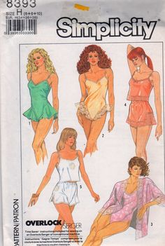 Simplicity 8393 1980s Lingerie Pattern Kimono Tap Shorts Camisole and Teddy womens vintage sewing pattenr by mbchills