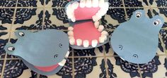 Hippo Craft for Preschoolers and Kindergarten. Letter H craft. Use baby marshmallows to create a toothy smile for your hungry hippos!