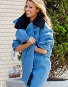 Powder blue poster girl: Blake Lively rockin' one helluva coat