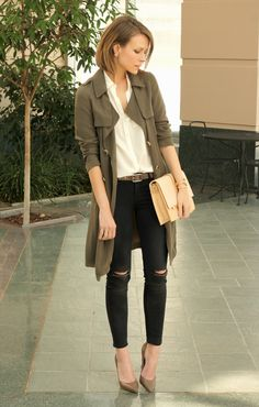 Don a draped trench in olive green this fall with lightly distressed denim and classic pumps.