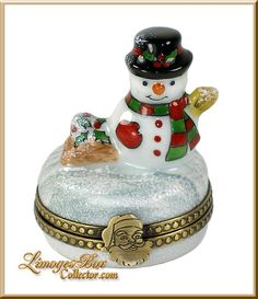 Holiday Snowman with Snowball (Beauchamp) Limoges Box.