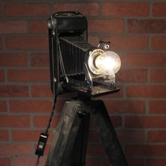 Vintage Black Kodak Folding Camera Lamp On Wooden Tripod by Fleamarketfloozys on Etsy