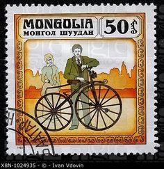 Bicicleta vieja, sello postal, Mongolia, 1982