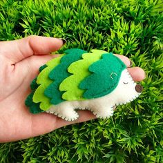 Mini Felt Hedgehog Plush - Wee Rebel Hedgehog (Green). $32.00, via Etsy.