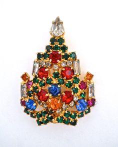 Petite Christmas Tree WARNER Brooch-Pin Multi by RenaissanceFair